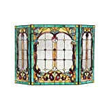 Chloe Lighting Lucian, Tiffany-Style Victorian 3pcs Folding Fireplace Screen 44×28
