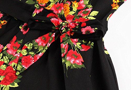 Donne Stampati Nero Delle Floreali Vestito 1950 Lunga Rockabilly Manica Annata Aecibzo Dall'oscillazione nABUqTYA