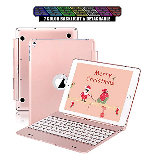 Keyboard Case fit for iPad 2018 (6th Gen) & fit for iPad 2017 (5th Gen) & fit for iPad Pro 9.7 & fit for iPad Air 2 & 1 - Detachable - Wireless/Bluetooth - 7 Color Backlit (9.7 Rose Gold)