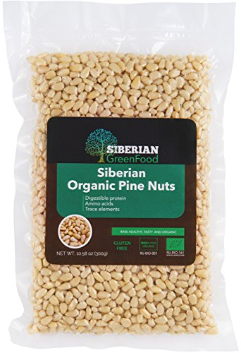 Organic Pine Nuts, Premium Quality 300gr/10.58oz vacuum pack by Siberian Green Food, European organic certificate.