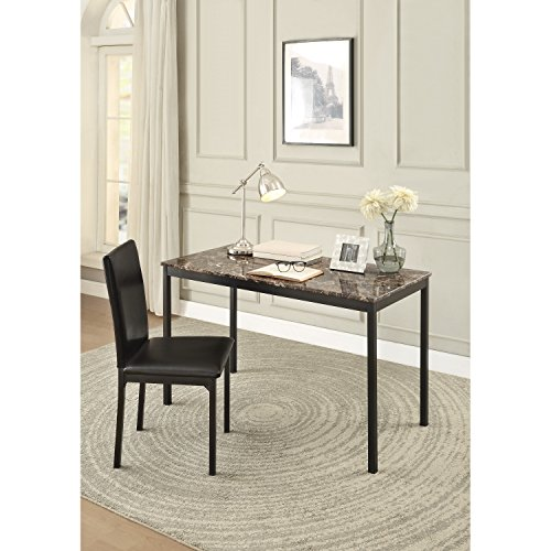 Quinn Writing Desk and Chair Set Includes: Chair and Desk Made from MDF and Faux Marble/Metal in Black/Brown Finish Desk (30'' H x 48'' W x 24'' D) and Chair (21.5'' H x 37'' W x 17.5'' D) by ZipcodeTM Design