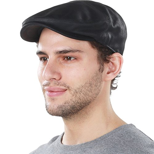 KBL-100 BLK L/XL PU Leather Ascot Ivy Newsboy Hat