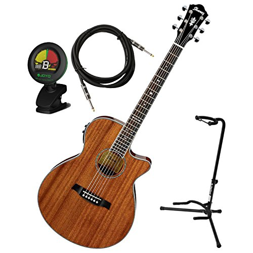 (Ibanez AEG12IINT Natural High Gloss AEG Series Acoustic-Electric Guitar w/ Stand, Tuner, and Cable)