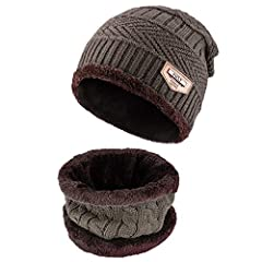 """Material: outer-acrylic knit, inner-fleece lining.Size: cap-10.2""""*9.8"""", scarf-8.7""""*9.4"""", circumference-22""""-23.6"""".Color: Wine red, Dark grey, Dark blue, Khaki, Coffee, Black.Package include: 1*skull cap + 1*scarf"""