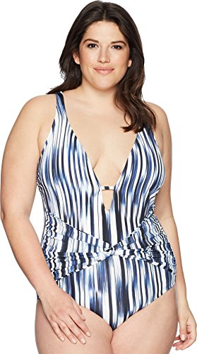 - Athena Women's Plus Size Blue Horizon Twist Front Plunge Maillot Navy 22 W