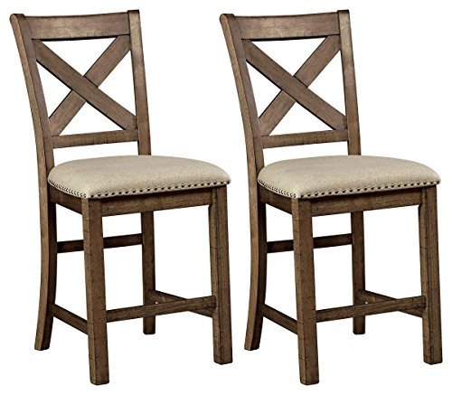 (Signature Design by Ashley D631-124 Rustic Style Pub Height Moriville Bar Stool (Set of 2) Grayish Brown)