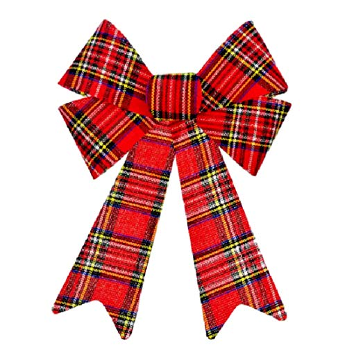 ristmas Plaid Bow 9 in by 15 in for Wreaths, Trees, Mantels, Large Gifts (1) ()