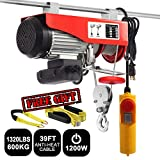 "Partsam 1320 lbs Lift Electric Hoist Crane Remote Control Power System, Zinc-Plated Steel Wire Overhead Crane Garage Ceiling Pulley Winch with Premium 6'x2"" & 36""x2"" Lift Sling"