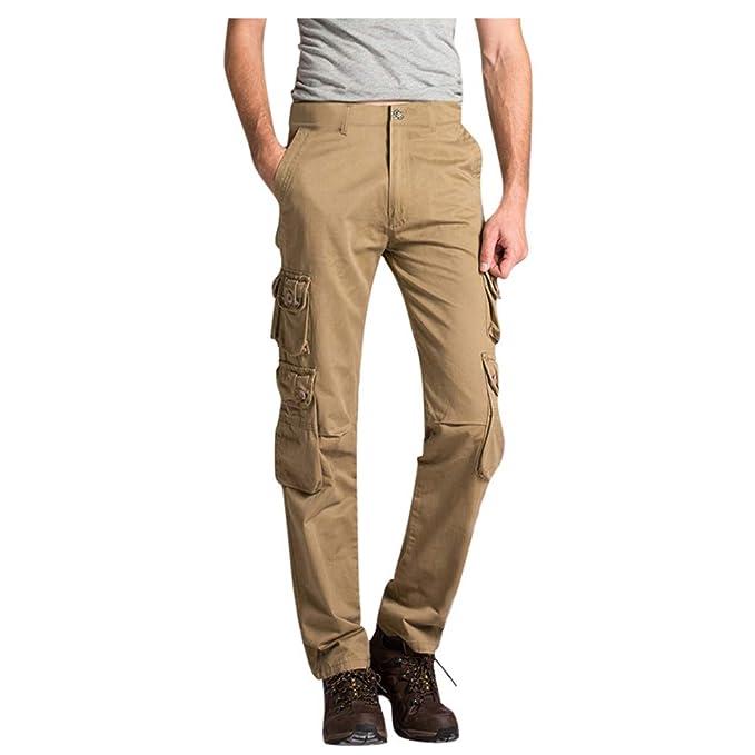 NINGNETI Pantalones Largos de Multibolsillos para Hombre ...