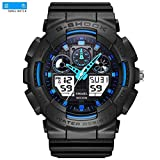 SMAEL SME36 Men's Sports Analog Digtal Wrist Watch Dual Quartz Movement Military Time Water Resistant with Backlight (Black-Blue)