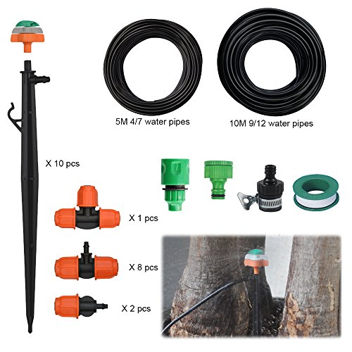2017 Newest Dual Path Irrigation System 360‹Rotary Nozzle with Ground Plug Automatic watering Set for Your Gardens, Greenhouses, Lawns, Plants, 1 Year Warranty (10m,33FT) (Rotating Path Flow)