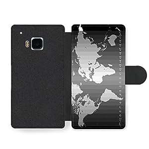 World Map in Stylish Black World Time Infographic Cool Funda Cuero Sintético para HTC One M9