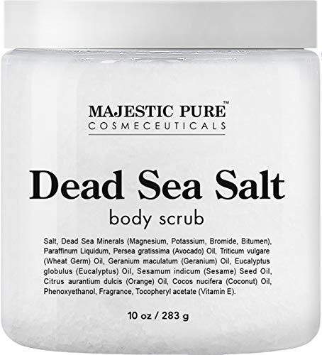 Dead Sea Salt Body Scrub by Majestic Pure - Infused with Aromatic Oils Exfoliates and Helps Conceal Stretch ()