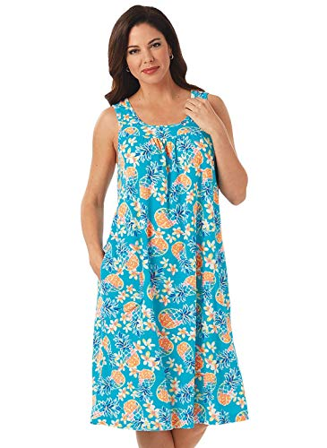 - Carol Wright Gifts Comfort Terry Dress, Color Turquoise Pineapple, Size Extra Large (1X), Turquoise Pineapple, Size Extra Large (1X)