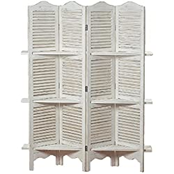 Stockbridge 4 Panel White Room Divider with 3 Shelves and Louvered Shutters, Rustic White, Wood, Approximately 6 Ft Tall, by WHW