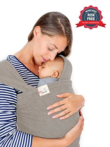 Baby Sling Wrap Carrier by ERT (Grey) - Baby Hat Included