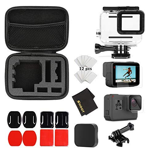 (SHOOT 26 in1 Must Have Accessories Kit with Carrying Case,Waterproof Housing Case for GoPro Hero 7 Black/5/6 Include Tempered-Glass Screen Protector,Lens)
