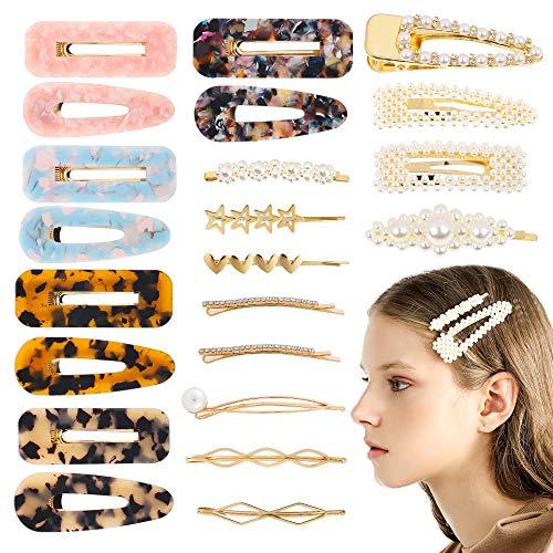 bca04860ede2 R HORSE 23 Packs Hair Clips Set Acrylic Resin Hair Clips Artificial Pearl  Clips Pearl Hair