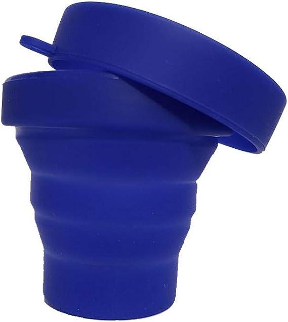 Copo Retrátil de Silicone Reutilizável com Tampa Ecológico Cor:Azul Bebê