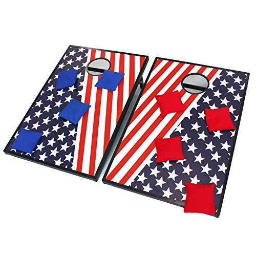2 in 1 Stars Stripes Pattern Cornhole Bean Bag Toss Game by Sonmer