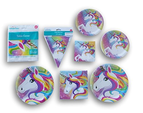 Wal-Mart, Inc. Rainbow Unicorn Themed 20 Person Party Supply Kit - Tablecover, Banner, Dinner Supplies, Dessert Supplies
