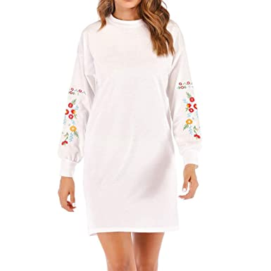 ff7642e87048 LUBITY Robe Pull Femme À Manches Longues Chic Rose Broderie Grande Taille  Sweatshirt Lâche Automne Hiver