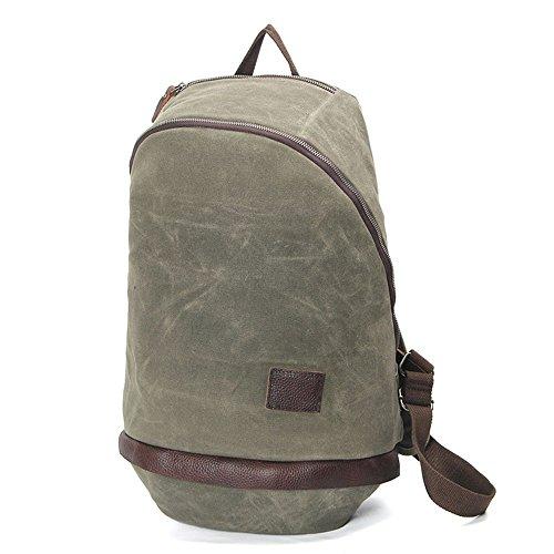 Mochila de lona de algodón exterior vintage, Viajes Trekking Camping Mochila Pack, Gran mochila casual, Cera impermeable, impermeable y transpirable, resistente al desgaste College poliéster estilo po green
