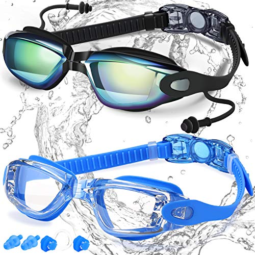 COOLOO Swim Goggles, Pack of 2, Swimming Goggles for Adult Men Women Youth Kids Child, Triathlon Equipment, with Mirrored & Clear Anti-Fog, Waterproof, UV 400 Protection Lenses, Made -