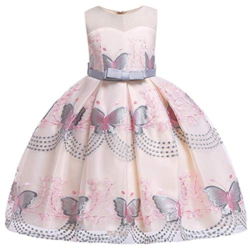 Girls Gray Dress 4T 5T Sleeveless Short Lace Pageant Dress for Kids 4 Years Old Flower Wedding Bridesmaid Frocks for Girls Gray Tutu Casual Dress Special Occasion Dress for Easter -