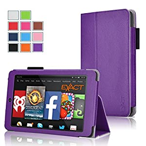 Fire HD 6 Case - Exact Amazon Kindle Fire HD 6 Case [PRO Series] - Premium PU Leather Folio Case for Amazon Kindle Fire HD 6 (2014) Purple