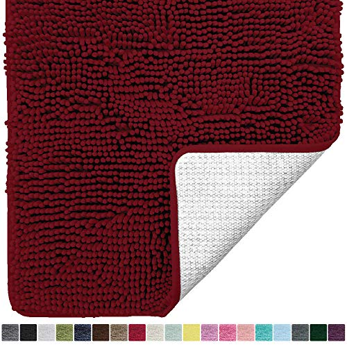 Gorilla Grip Original Luxury Chenille Bathroom Rug Mat, 30x20, Extra Soft and Absorbent Shaggy Rugs, Machine Wash Dry, Perfect Plush Carpet Mats for Tub, Shower, and Bath Room, Burgundy (Machine Wash Rugs)