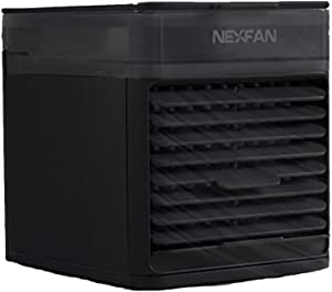 NexFan Portable Air Cooler,USB Desk Fan with 3 Fan Speeds, Evaporative Air Cooler for Home & Office, Air Humidifier, 7 Light Colors- Mini Air Conditioner Room Cooler with In LED Night Light (Black)