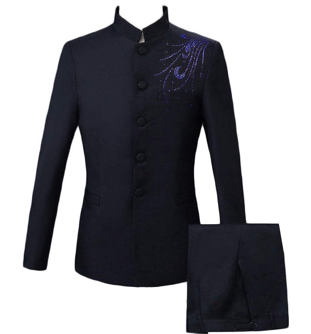 Coolred-Men Solid Casual Rhinestones Classic 2pcs Set Blazer Suit Coat Tops