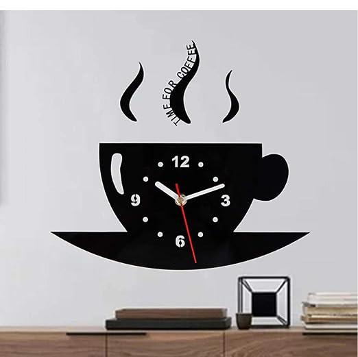 Zihan9 Reloj de Pared de Vinilo Cafetera Creativo Cuarzo Grabación ...
