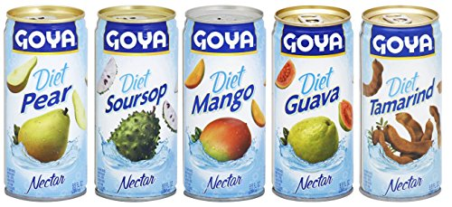 Goya Diet Nectars Variety Pack, Includes: Pear, Soursop, Mango, Guava, & Tamarind (9.6 oz, 1 each, 5 cans total)