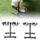 OHTOP Pet Feeding Double Bowl Stainless Steel Adjustable Food Water Feeder For Dog Cat - Small - Medium