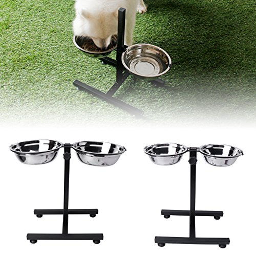 - NNDA CO Pet Feeding Bowl, Pet Bowl Double Diner Food and Water Feeder Bowls with Adjustable Elevated Stainless Steel Stand Durable Non-Skid Dog Bowl for Small Medium Dogs Cats Puppies S/M (S)