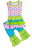 Girls Easter Bunny Outfit Set Pastel Tiered Ruffle Top with Ruffle Capri Pant Set 2T/XS