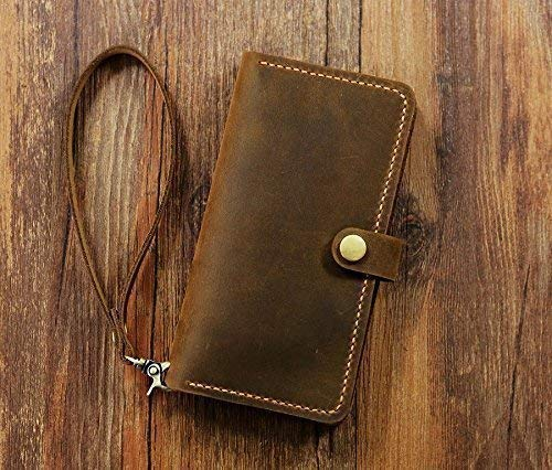 Personalized leather Wristlet iPhone 6 6s 7 8 plus wallet case/retro distressed leather iPhone X XS Max XR wallet case cover IP05MW-B