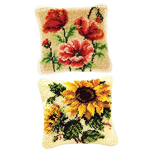 Baosity 2 Sets Flower Latch Hook Rug Kits Pillow Sofa Cushion Making Package for Kids Beginners ()
