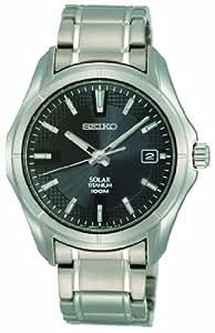 Seiko SNE141P1 - Reloj analógico de caballero de cuarzo con correa de titanio gris (solar) - sumergible a 100 metros