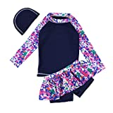 iiniim Girls Long Sleeve Rash Guard Swimsuit Swimwear Bathing Suit Floral Top Surf Shirt with Skirted Bottoms Swim Hat Navy Blue 5-6