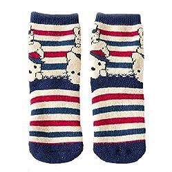 Beauty Nymph 2pairs Winter Socks Cute Cat and Rabbit Cotton Towel Socks (M:(4-6years))