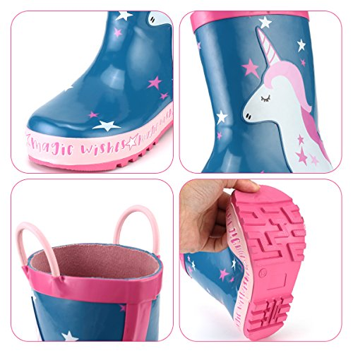 KomForme Kids Girl Rain Boots, Waterproof Rubber Printed with Handles in Various Prints and Different Sizes by KomForme (Image #4)
