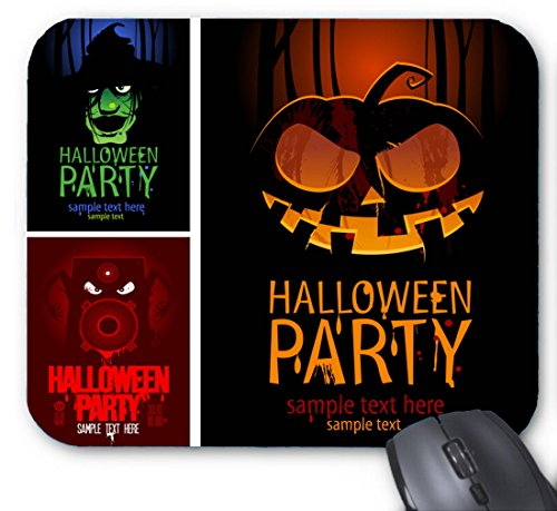 Halloween Party Sample Text Here Combination | Vintage Costumes of Monsters Hats Mouse pad 7x8.66 inch