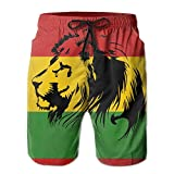 SARA NELL Mens Reggae Rasta Lion Fashion Breathable Beach Board Shorts Swim Trunks Quick Dry