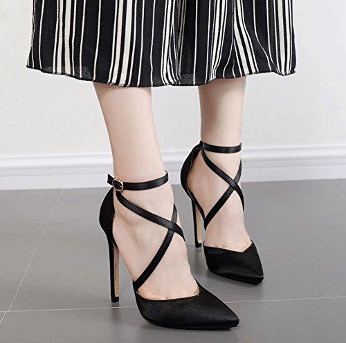Ceinture Couleur Noir hauts Talons Chaussures Bouche fin pour Rouge femmes croisée LBDX pointue satin taille Shallow Talon Boucle en 40 nPvHRqzx
