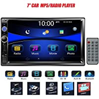 Regetek 7' Double DIN Touchscreen In Dash Bluetooth Car Stereo Mp3 Audio 1080P Video Player FM Radio/TF/ USB/ AUX-in/Rear View Camera + Remote Control