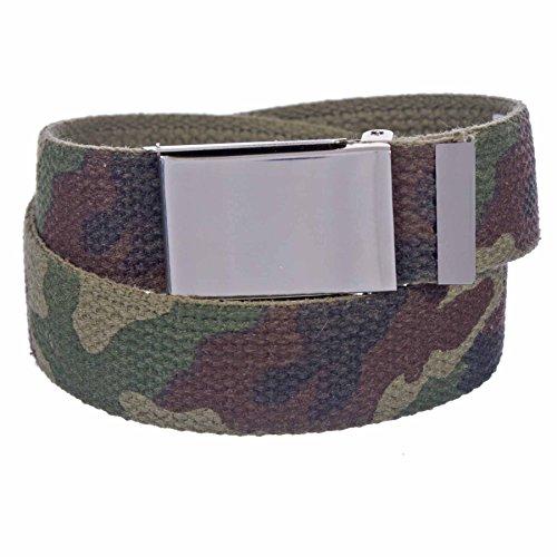 Sunny Belt Unisex Kids 1 ¼ Inch Wide Cut To Fit Canvas Web Belt Sniny Nickel Buckle