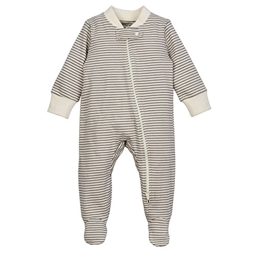 DorDor & GorGor ORGANIC Zip Front Sleep 'N Play, Unisex Baby Footed Pajamas, Cotton (6-9 Month, Gray striped)